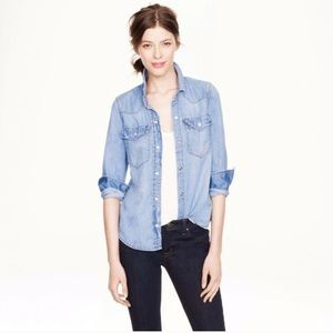 J.CREW Chambray Denim Western Shirt in Pale Indigo
